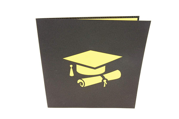 Front cover of card with black color features graduation cap and diploma design