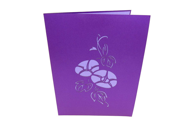 Front cover of card with purple color features iris flowers