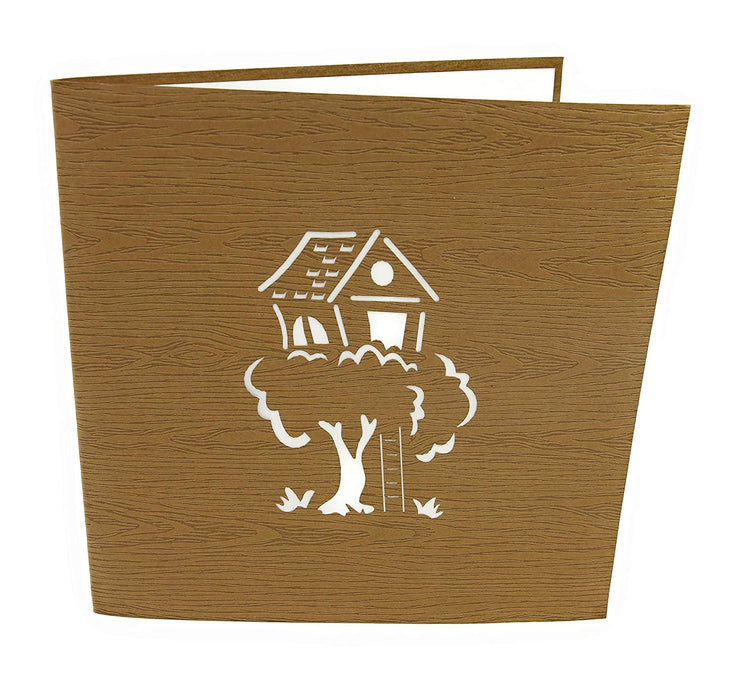Front cover of card with brown color features tree house design