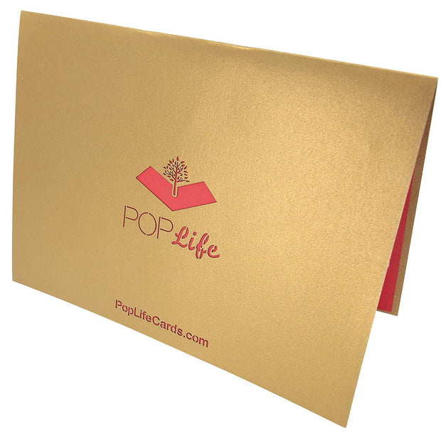 Back cover of card with gold color and printed PopLife logo