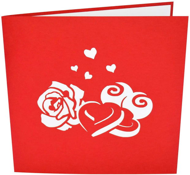 Front cover of card with red color features sweet treats design
