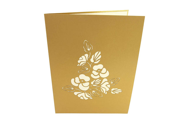Front cover of card with brown color features blooming pansies