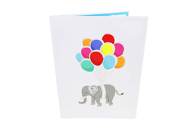 Front cover of card with light grey color features elephant with colorful balloons
