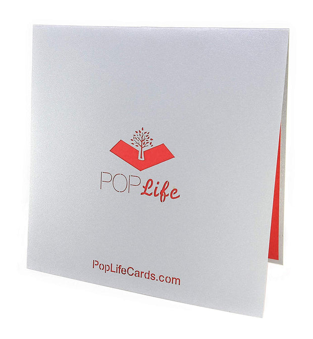 Back cover of card with grey color and printed PopLife logo