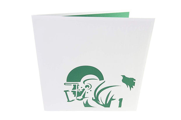 Front cover of card with grey color features football player design