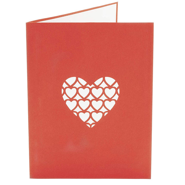 Front cover of card with red color features hearts design