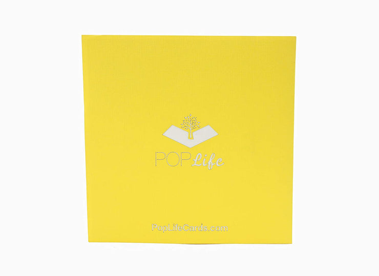 Back cover of card with yellow color and printed PopLife logo