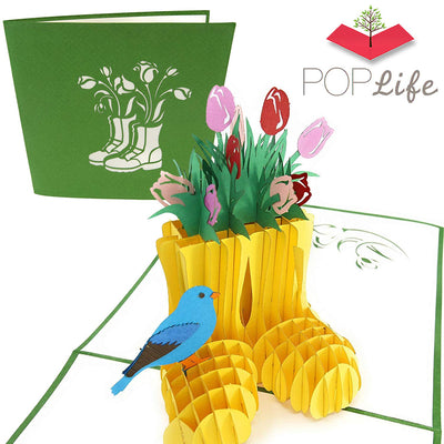 Spring Tulip Flower & Gardening Boots Pop Up Card