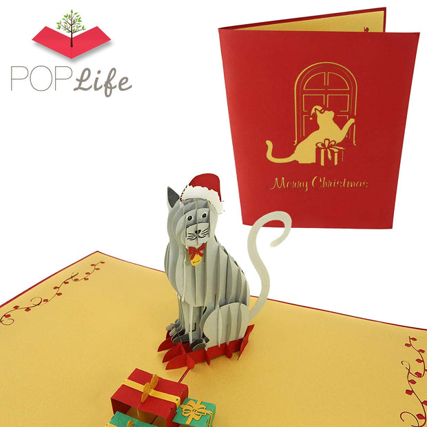 Holiday Cat Pop Up Card