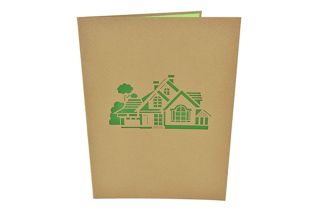 Front cover of card with brown color features house design