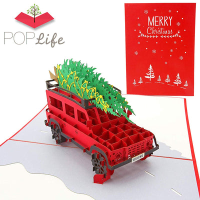 Christmas Tree Family Car Pop Up Holiday Card