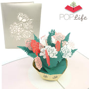 Pink Flower Bouquet Pop Up Card