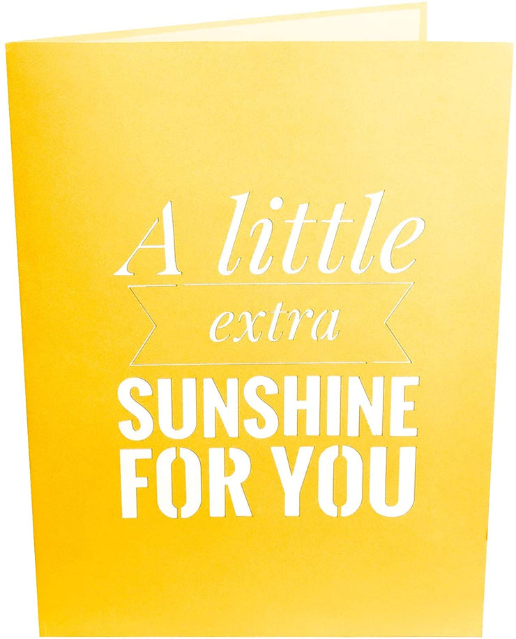 "Front cover of card with yellow color features ""A little extra sunshine for you"" message"