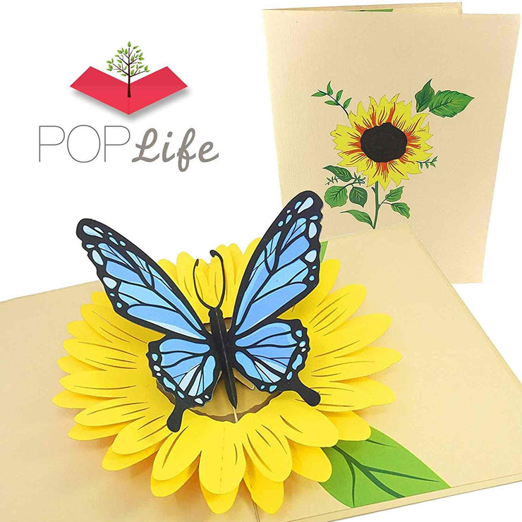 PopLife Blue Butterfly and Sunflower Pop Up Card