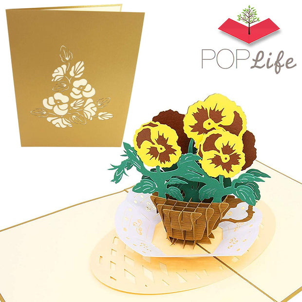 PopLife Garden Pansy Teacup Flower Pop Up Card
