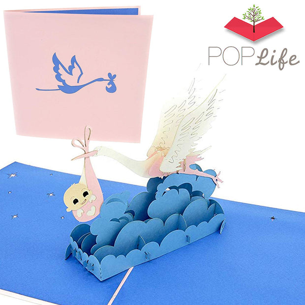 Stork and Baby Pop Up Card