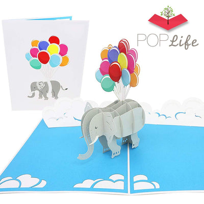 Elephant and Balloons Pop Up Card