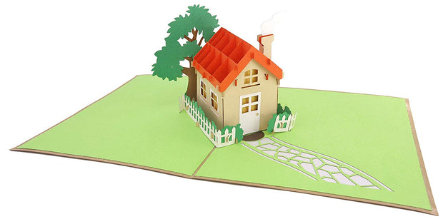 PopLife Pop-Up card features Colorful 2 story house with chimney, and tree