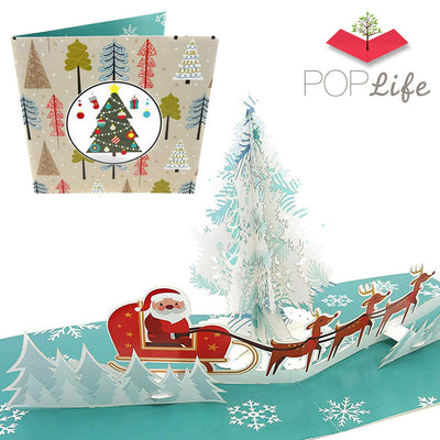 Santa Riding Sleigh in Forest Pop Up Card