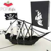 Black Pirate Ship Pop Up Card