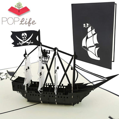 PopLife Black Pirate Ship Pop Up Card