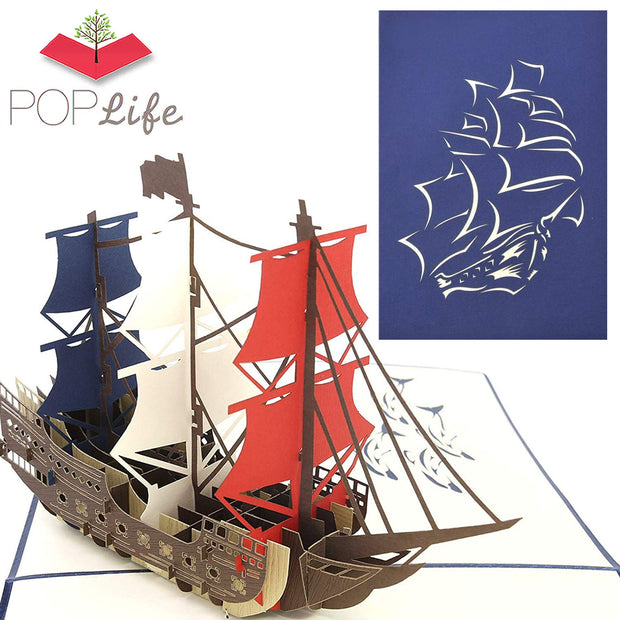 Man O' War Ship Pop Up Card