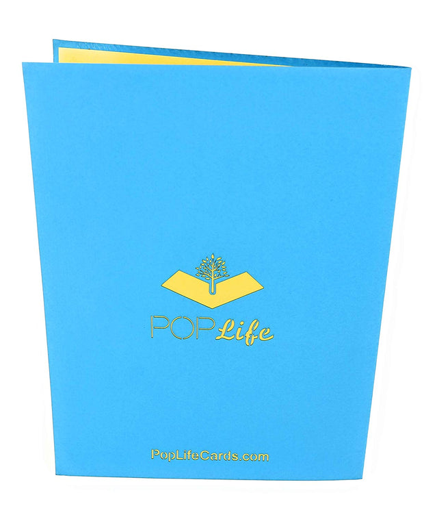 Back cover of card with blue color and printed PopLife logo
