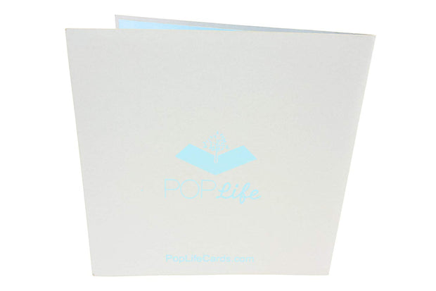 Back cover of card with gray color and printed PopLife logo
