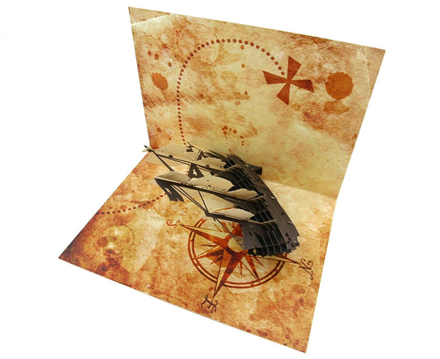 Pirate Ship & Treasure Map Pop Up Card