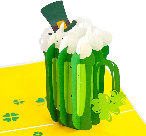 Green St. Patrick's Day Beer Pop Up Card