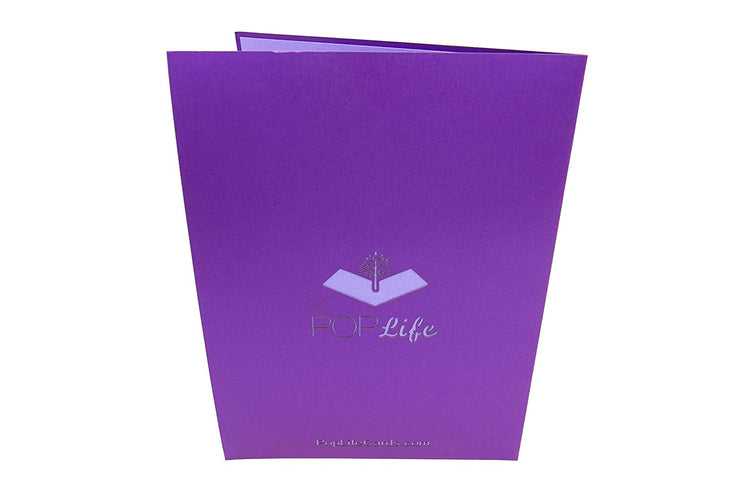 Back cover of card with purple color and printed PopLife logo