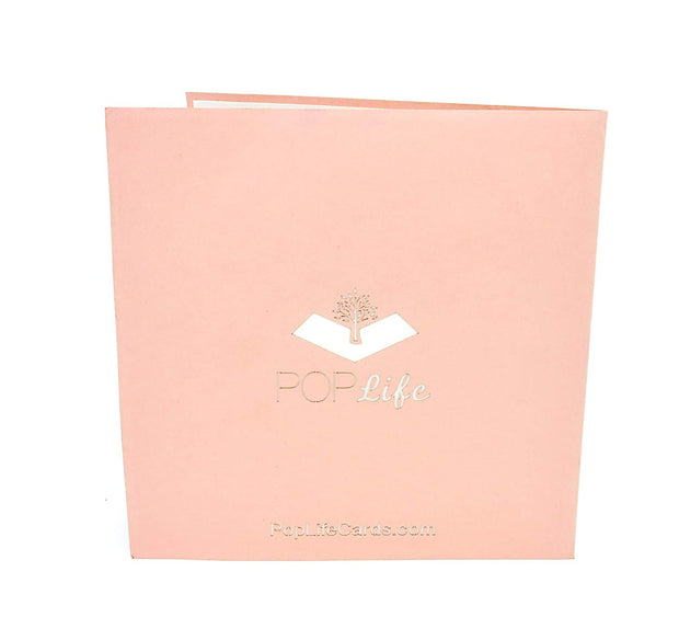 Back cover of card with pink color and printed PopLife logo