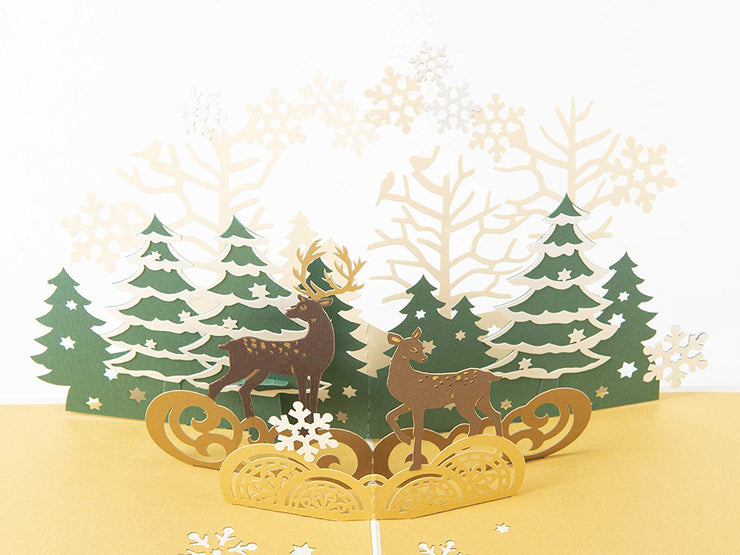 Reindeer in the Forest Pop Up Holiday Card