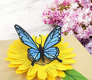 Blue Butterfly and Sunflower Pop Up Card