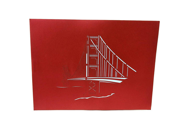 Front cover of card with red color features Golden Gate Bridge design