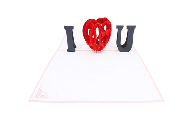 Pink I Love You Heart Pop Up Card
