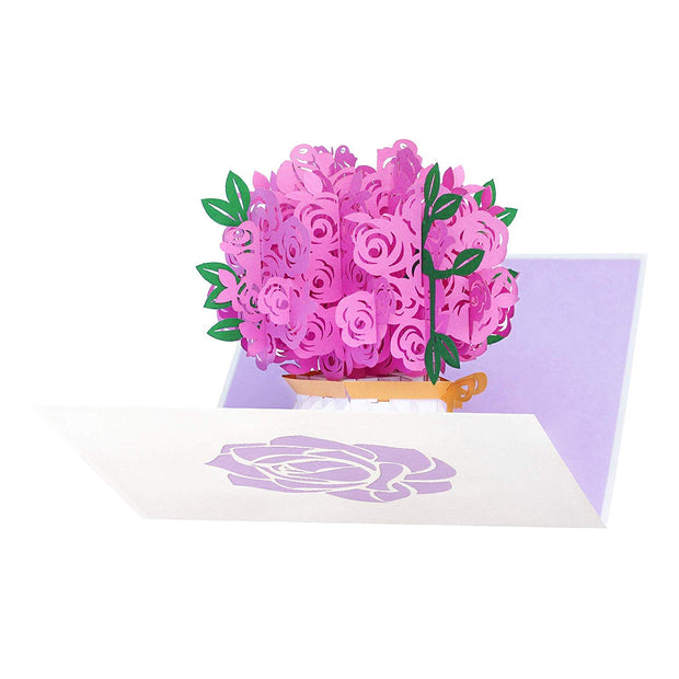PopLife Pink Rose Bouquet - Intricate Laser Cut 3D Cards