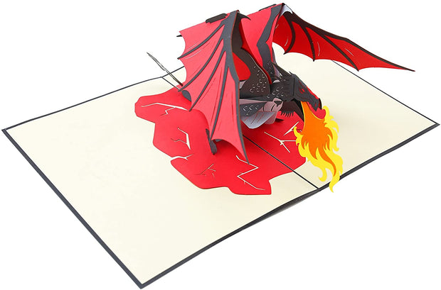 PopLife Pop-Up card features mythical creature fire-breathing dragon
