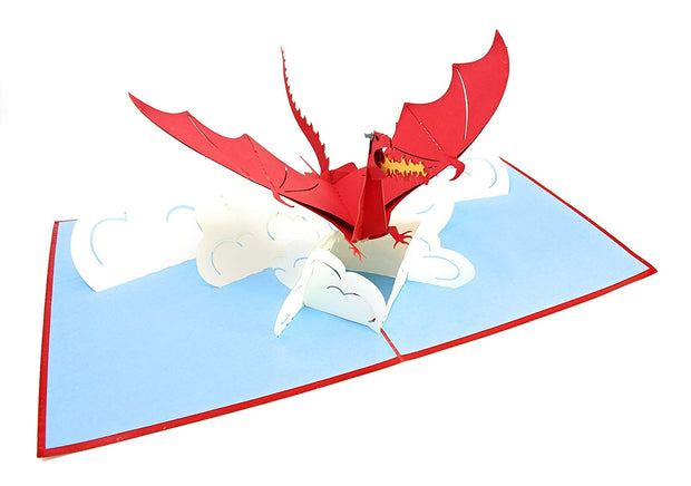 PopLife Pop-Up card features mythical dragon flying above the clouds