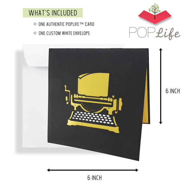 "Typewriter ""Happy Birthday!"" Message Pop Up Card"