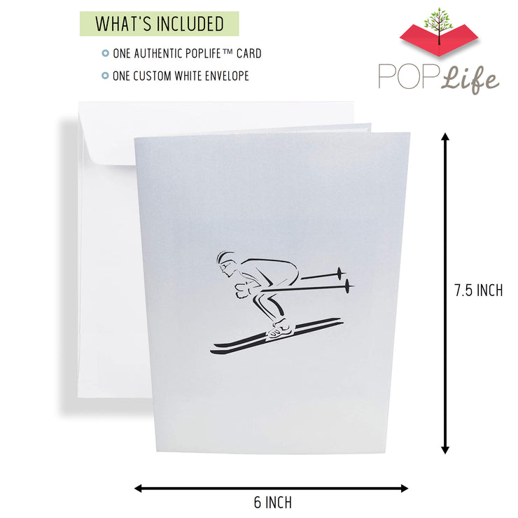 Mountain Skier Pop Up Card