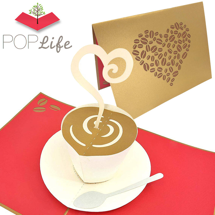 PopLife Cute Coffee Lover Pop Up Card