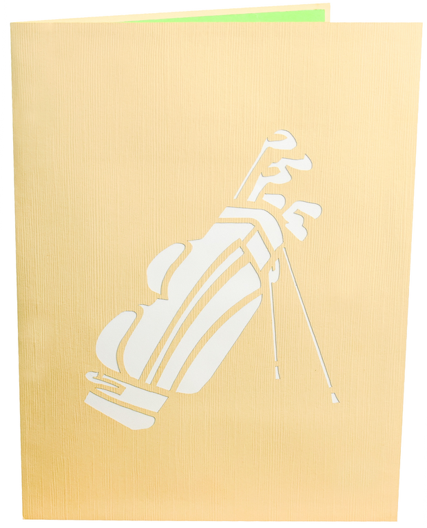 Front cover of card with light brown color features golf clubs in a bag design