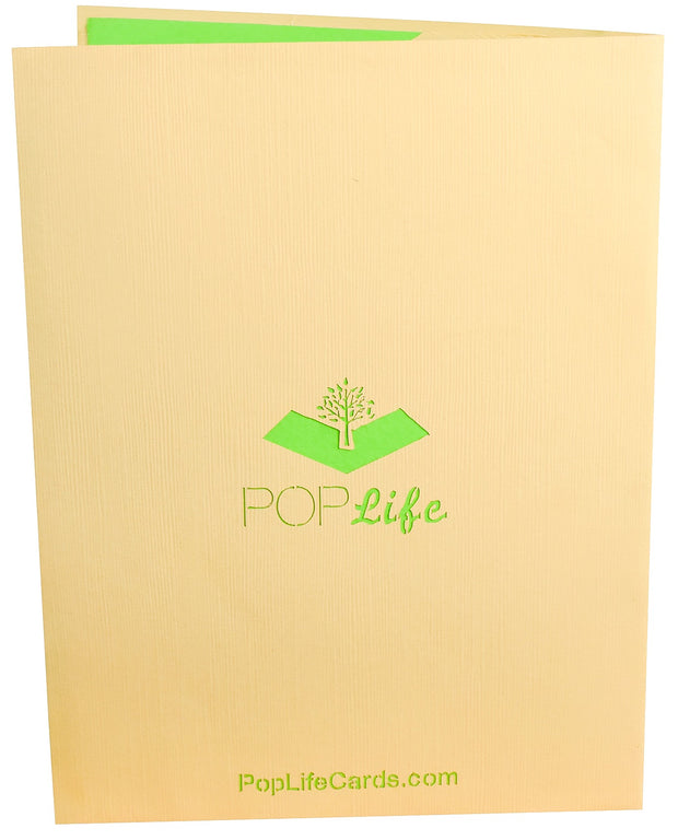 Back cover of card with light brown color and printed PopLife logo
