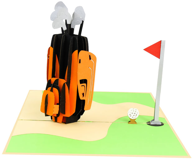 PopLife Pop-Up card features golf club with glof ball and flag