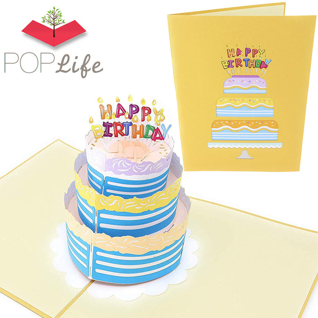 PopLife Happy Birthday Card - 3D Colorful Cake Pop Up Birthday Card