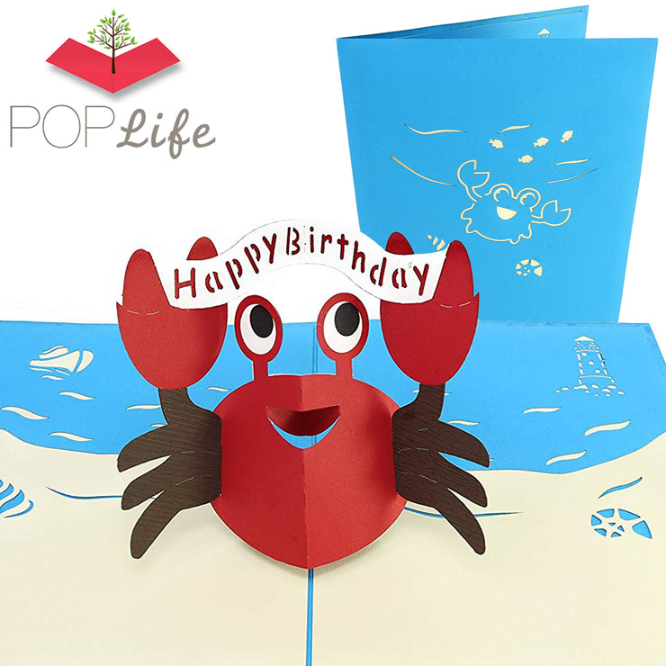 PopLife Happy Red Crab Pop Up Card