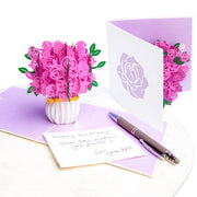 Pink Roses Bouquet Pop Up Card