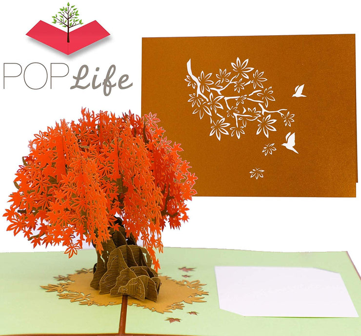 Orange Maple Tree Pop Up Card