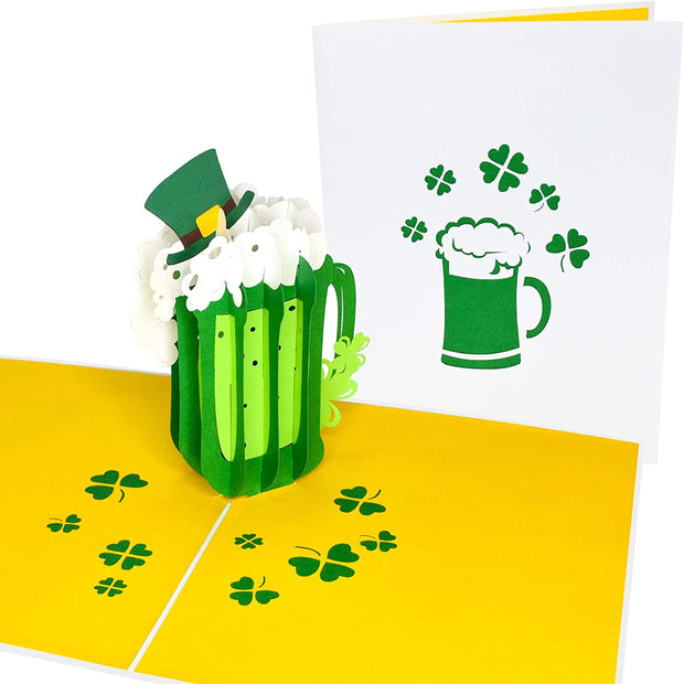 PopLife Green St. Patrick's Day Beer Pop Up Card